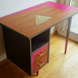 Relooking bureau vintage style scandinave, métal acier, rose et or, formes géométriques