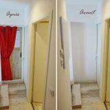 AVANT / APRES fausse porte bois et rideau rouge dans couloir