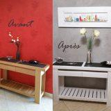 Console en bois blanchi + gris foncé métal, patines décoratives