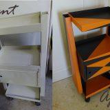 Relooking box métallique motifs triangulaires orane et gris