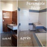 Relooking ancienne salle des bains- carrelages et meubles