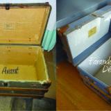 Malle diligence bois et tissu restaurée intérieur